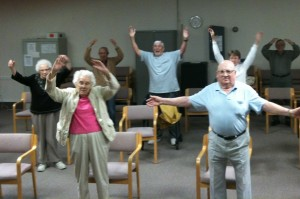Norm (front center) and his class at Friendship Village