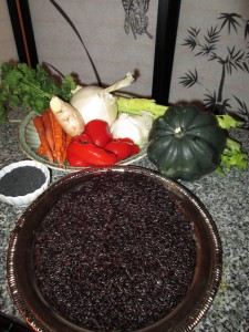 Ellasara King ROASTED VEGETABLES WITH BLACK RICE AND BLACK SESAME SEEDS