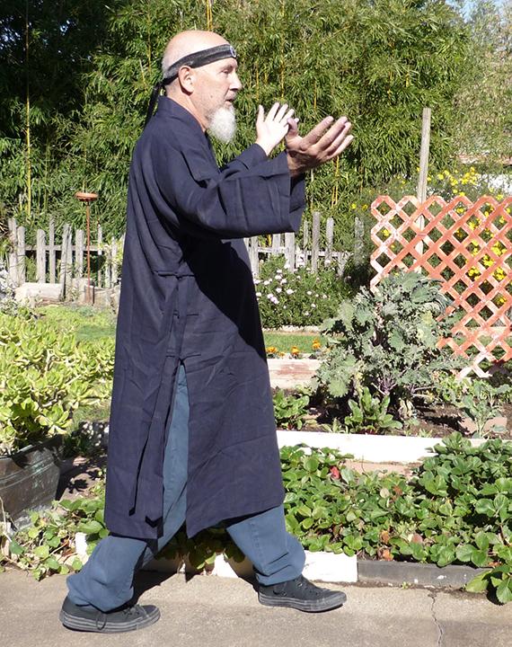 Michael Rinaldini Side View Lifting Palms Long Robe